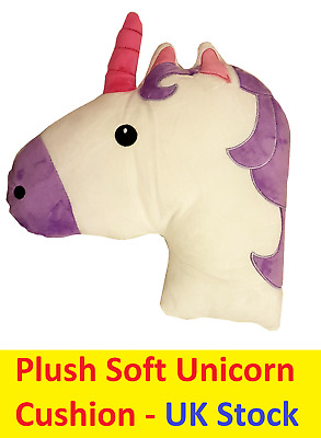 Unicorn Shaped Cushion Plush Filled Emoji Emoticon Head Pillow Super Soft Comfy