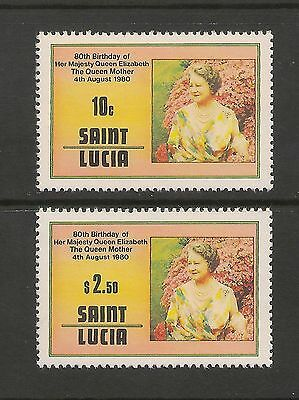 St. Lucia #501-502 VF MNH 1980 10c to $2.50 Queen Mother Elizabeth 80th Birthday