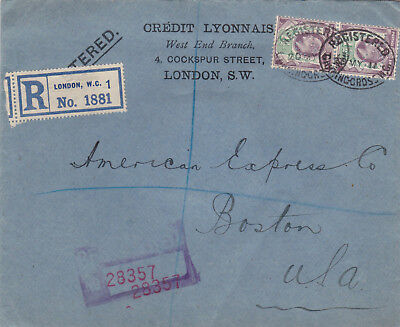 1911 Registered letter to the USA. Perfin stamps in use.