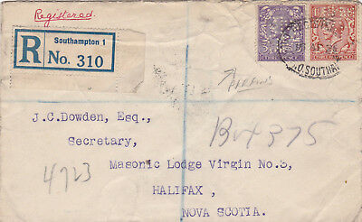 1928 Registered letter to Canada. Perfin stamps in use.