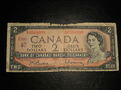 1954 Bank Of Canada $2 Two Dollars Test Note Beattie Rasminsky S/r 0504998