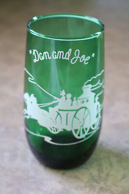 "Anchor Hocking FOREST GREEN ""Dan and Joe"" ROLY POLY 5 1/8""h Tumbler / Glass"