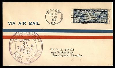 Mayfairstamps MACON GA FIRST FLIGHT CAM SEP 15 1928 PURPLE CACHET ON AIR MAIL CO