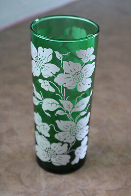 "Anchor Hocking FOREST GREEN Dogwood 6 1/2"" Straight Shell 16 oz Glass / Tumbler"