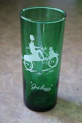 "Anchor Hocking FOREST GREEN Gay Ninties ""Gas Buggy"" Straight Shell 16 oz Glass"
