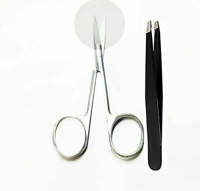 Eyebrow Scissor Tweezer Professional Sharp Stainless Steel Brow Make-up kit UK