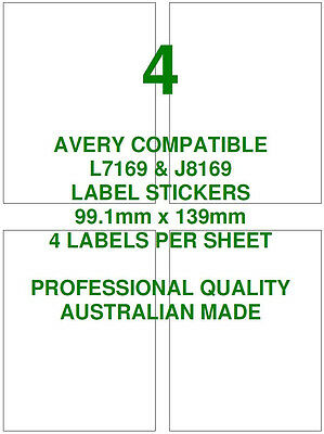 Avery L7169 & J7169 Compatible Address Labels Stickers 4 X 10 Sheets Laser Inkje