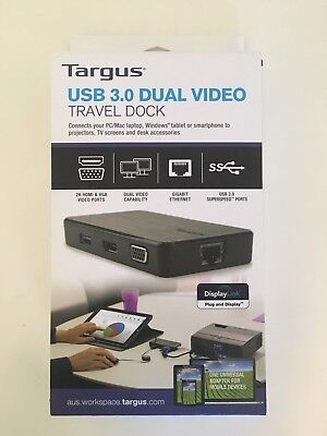 Targus USB 3.0 Dual Video Travel Dock - BRAND NEW Special Price $89 (RRP $149)