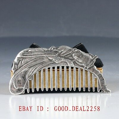 Chinese Silver Hand Painted Beautiful woman Comb ZJ45