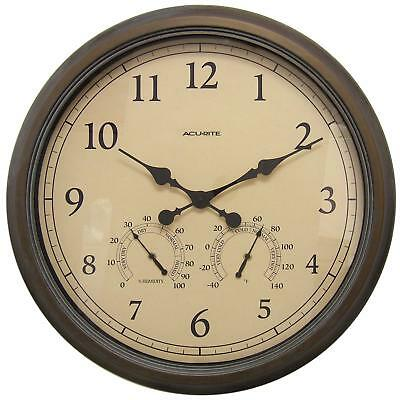 AcuRite 01061 24-Inch Patina Indoor/Outdoor Wall Clock with Thermometer