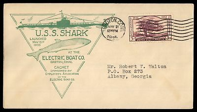 Mayfairstamps USS SHARK LAUNCHED GROTON CT MAY 21 1935 ELECTRIC BOAT CO CACHET O