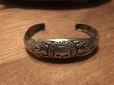 Harley Davidson Men's Women's Willie G Skull 925 Sterling Silver Bracelet Heavy