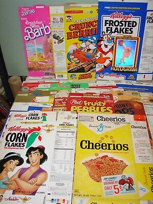 24 - Large, Flat Cereal Boxes (no cereal) - Old Cheerios, Cap'n Crunch, Wheaties