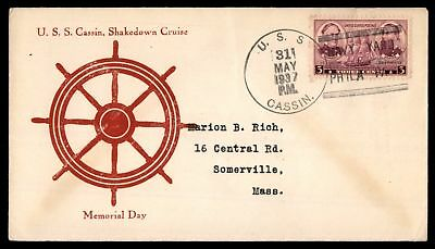 Mayfairstamps USS CASSIN SHAKEDOWN CRUISE PHILA PA MAY 31 1937 MEMORIAL DAY CACH