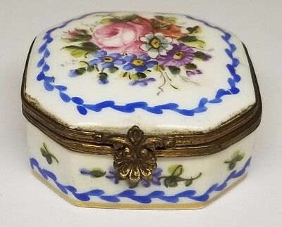 Antique 18th Century Sevres Signed Porcelain Hand Painted Flowers Trinket Box