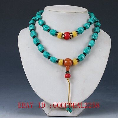 Chinese Old turquoise&Red Coral &Deeswax Handwork Decoration Necklaces XL060