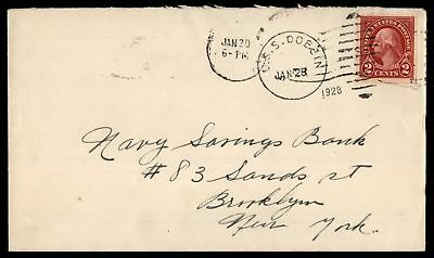 Mayfairstamps USS DOBBIN JAN 28 1929 SINGLE FRANKED COVER TO BROOKLYN NY
