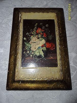 "ITALIAN GOLD TOLEWARE FLORENTINE WOOD WALL HANGING 4 X 6.5"" **Beautiful!**"