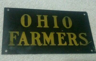 "VINTAGE 3 1/2""x6 1/2"" TIN OHIO FARMERS SIGN"