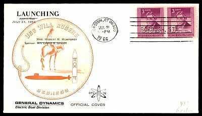 Mayfairstamps USS WILL ROGERS SSBN 659 LAUNCHED GROTON CT JUL 21 1966 DPS CACHET