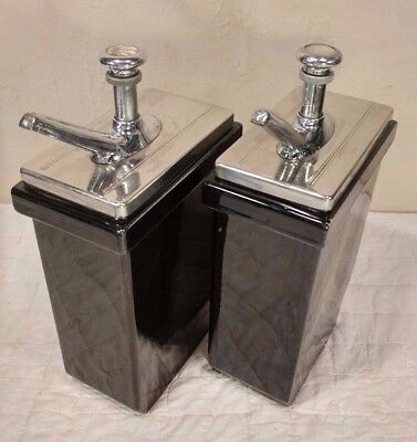 Vintage Pair of Hall Drug Store Soda Fountain Syrup Pump Dispensers - COOL!
