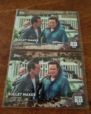 Negan & Eugene 2017 Topps Walking Dead Season 7 SP Mud Parallel #d /50 - New!