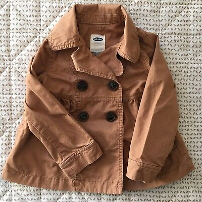 Old Navy Toddler Girls Brown Pea Coat Style Jacket Autumn Fall Size 3T