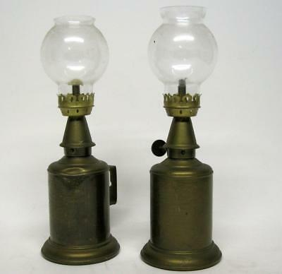 Pair Of Vintage French Pigeon Brass Oil Lampe Garantie Veritable W/Chimney