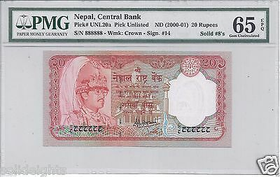 NEPAL 20 RUPEES  #8/888888  ND(2000-01) PMG-65 GEM UNCIRCULATED GOLDEN SOLID 8's