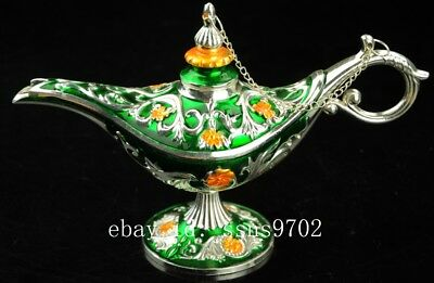 chinese old hand engraving beautiful silver green proboscis tea set collect NR