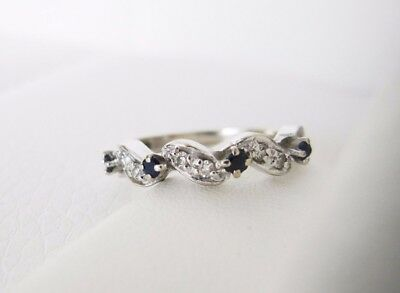 14K karat White Gold Sapphire Diamond antique wedding stacking band ring vintage