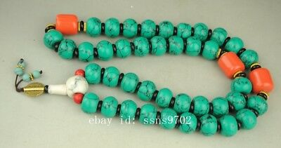 EXQUISITE CHINESE natural TURQUOISE HAND WOVEN NECKLACE    XW