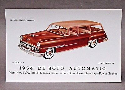 1954 DESOTO FIREDOME STATION WAGON advertising promotional card DE SOTO