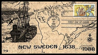 Mayfairstamps NEW SWEDEN 350TH ANNIVERSARY GARIK CACHET ON UNSEALED FDC