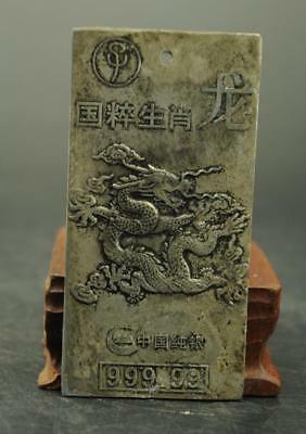 China Old Tibet silver carving zoology dragon statue Amulet periapt Pendant   XW