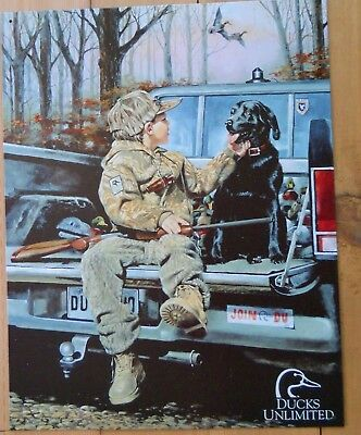 Ducks Unlimited Tin Sign Forever Friends Boy Dog Gun Truck Picture Gift USA New