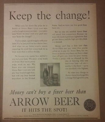 1941 Arrow Beer Ad Keep The Change! Globe Brewing Co Baltimore, Maryland