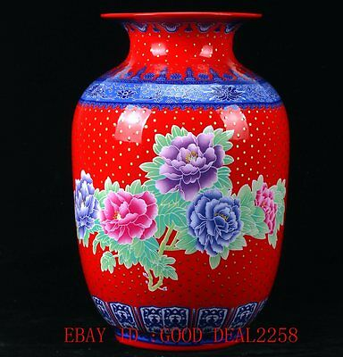 Chinese Famille Rose Porcelain Hand-Painted Flower Vase W Qianlong Mark CQCQ17