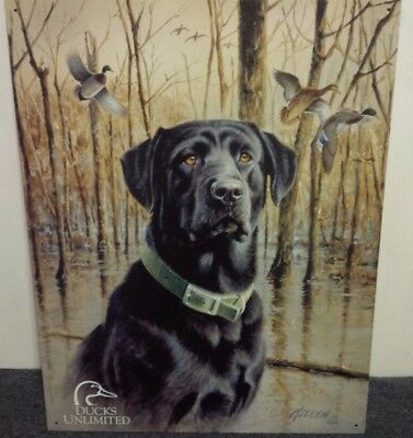Ducks Unlimited Black Labrador Hunting Dog Cabin Wall Picture Gift New USA