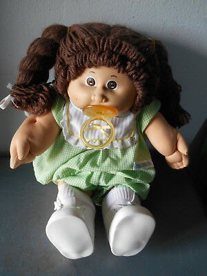 '78-'82 Cabbage Patch Kids Doll W Pacifier Brown Hair/Eyes/Dimples Orig Outfit