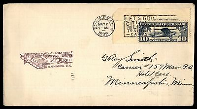 Mayfairstamps WASHINGTON DC FIRST FLIGHT MAY 2 1928 PURPLE CACHET ON AIR MAIL CO
