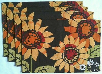 Croft & Barrow Set of Four (4) Tapestry Placemats 'SUNFLOWER DELIGHT' Pattern