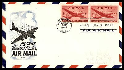 Mayfairstamps US 5c AIR MAIL ISSUE PAIR IOOR CACHET ON UNSEALED FDC