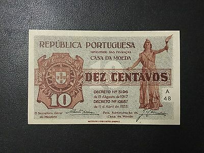 1925 Portugal Paper Money - 10 Centavos Banknote !