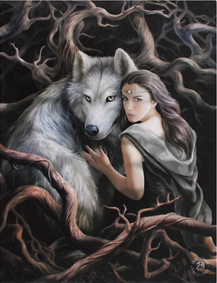 "Soul Bond Canvas Plaque by Anne Stokes Wolf 10"" x 7.5"""