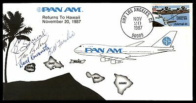 Mayfairstamps LOS ANGELES CA PAN AM RETURNS TO HAWAII NOV 20 1987 CANCEL ON AUTO