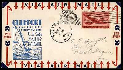 Mayfairstamps GULFPORT MS FIRST FLIGHT APR 1 1947 BLUE CACHET ON AIR MAIL COVER