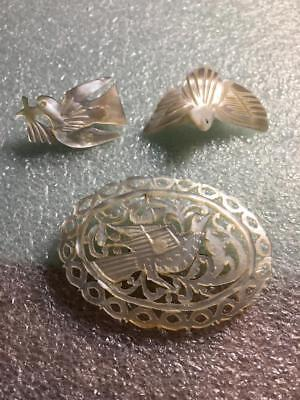 Vintage Intricate Hand Carved Mother Of Pearl Lot Of 3 Bird Design Brooches