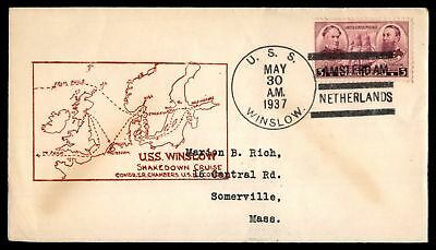 Mayfairstamps USS WINSLOW AMSTERDAM NETHERLANDS MAY 30 1937 SLOGAN CANCEL ON COV