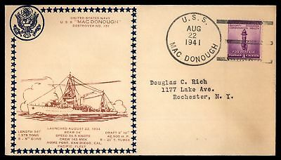 Mayfairstamps USS MAC DONOUGH NO 351 LAUNCHED AUG 22 1941 PACIFIC FLEET BROWN CA